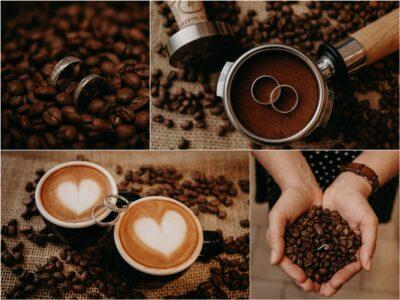 Kávé, gyűrűk, kávés esküvői fotók